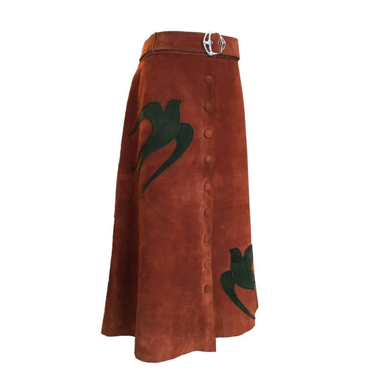 Maroon Suede Skirt Applique Swallows 1970s
