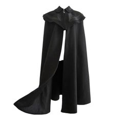 Black Wool Cape Coat 1970s