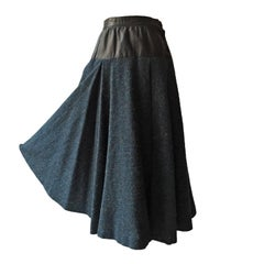Yves Saint Laurent Tweed Leather Flare Skirt 1980s
