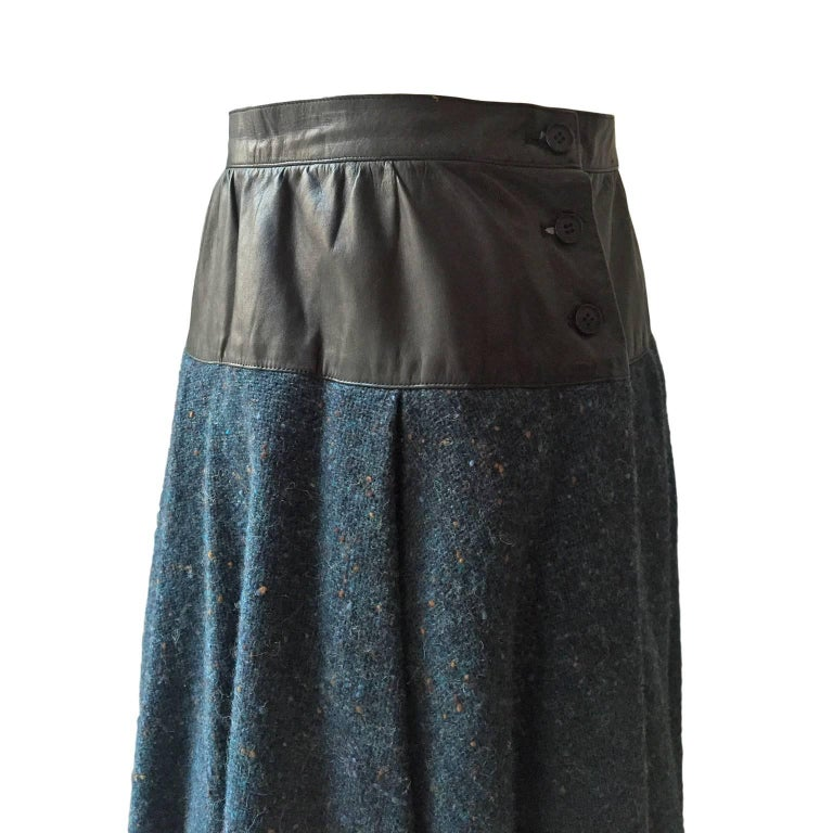 Black Yves Saint Laurent Tweed Leather Flare Skirt 1980s For Sale