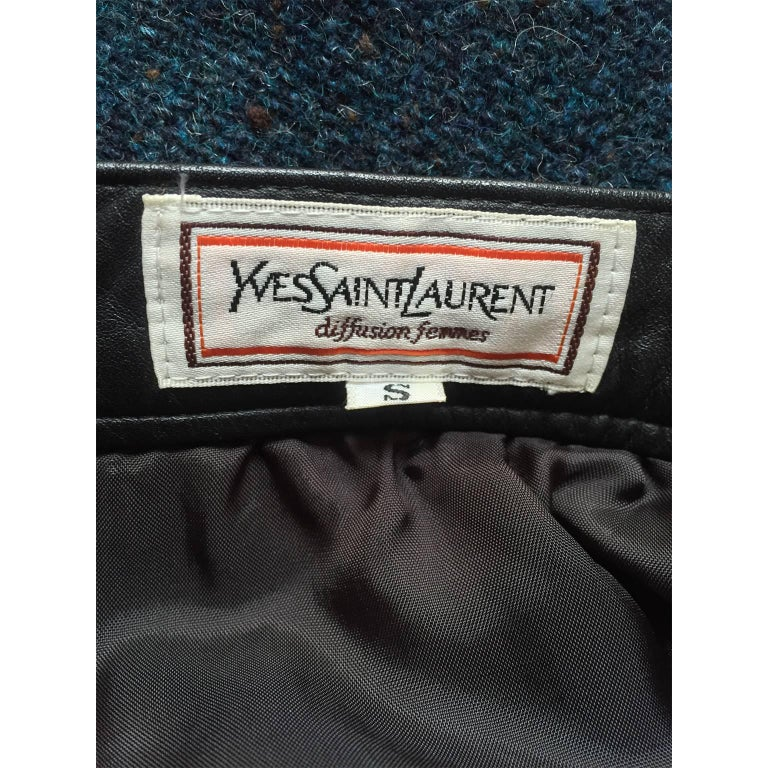 Yves Saint Laurent Tweed Leather Flare Skirt 1980s In Excellent Condition For Sale In Berlin, DE