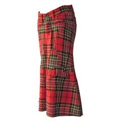 Comme des Garcons Junya Watanabe Red Tartan Skirt AD 2001
