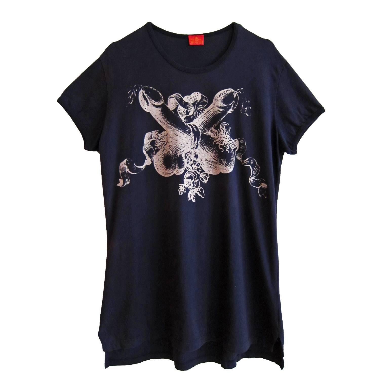 Vivienne Westwood Two Crossed Penises T shirt 90's