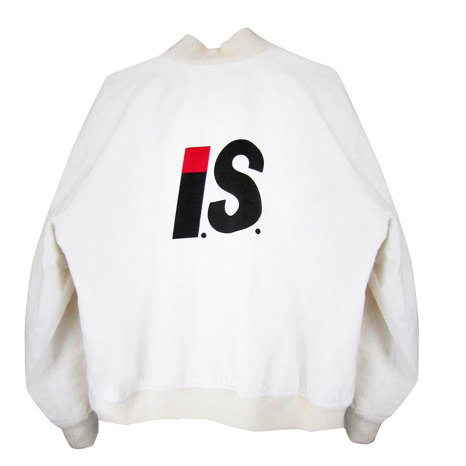I.S. Issey Miyake Sport White Bomber Jacket 1980s