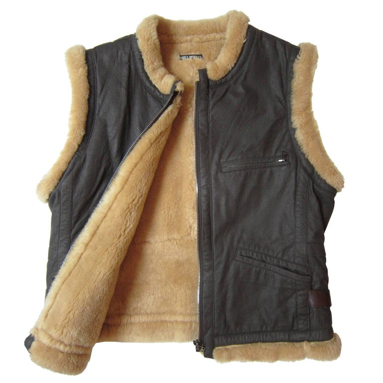 Issey Miyake Wool Brown Zip Vest