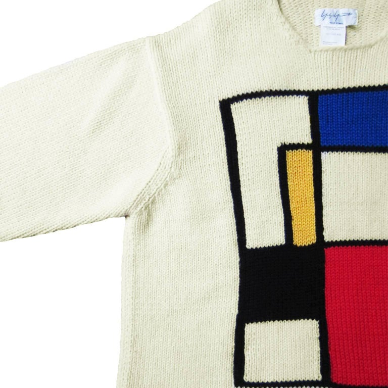 Yohji Yamamoto Mondrian Sweater 90s In Excellent Condition For Sale In Berlin, DE