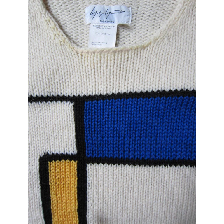 Men's Yohji Yamamoto Mondrian Sweater 90s For Sale