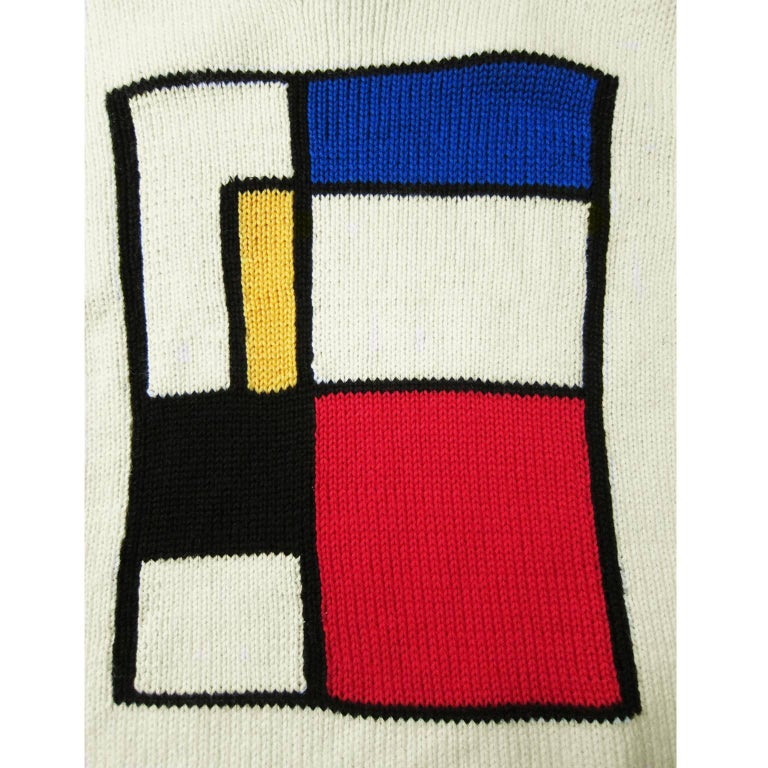 Rare Yohji Yamamoto off white base heavy knit with Mondrian motif from mid 90s. Original size : Medium Measurements : Length : 68 cm Width 57 cm Shoulder 51 cm Sleeve 57 cm