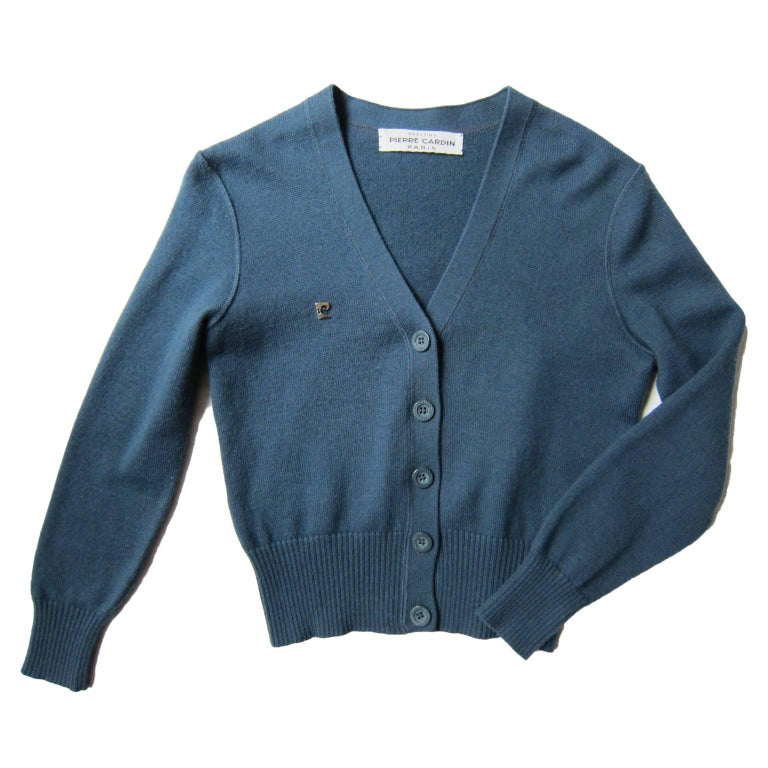 Pierre Cardin Grey Blue Cardigan 1960s