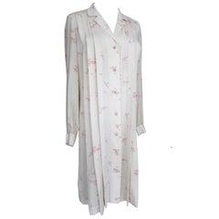 Chanel Cherry Blossom Silk Dress Lion Buttons 1970s