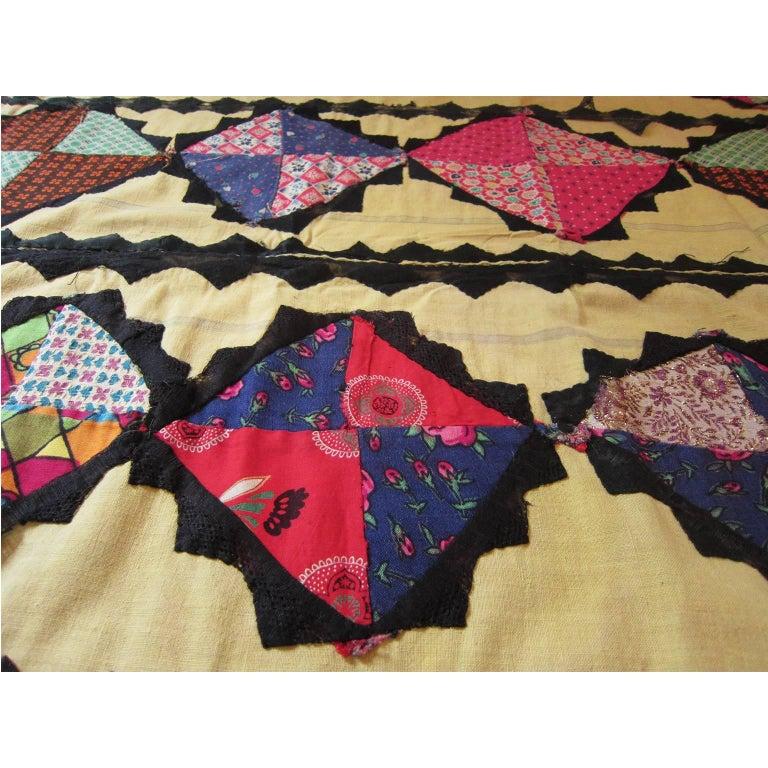 Brown Antique Suzani Patchwork Orient Quilt Uzbekistan For Sale