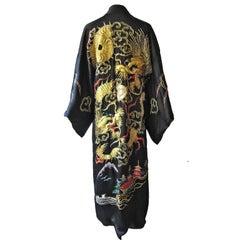 Golden Dragon Fuku Ryu Kimono Robe, 1940s