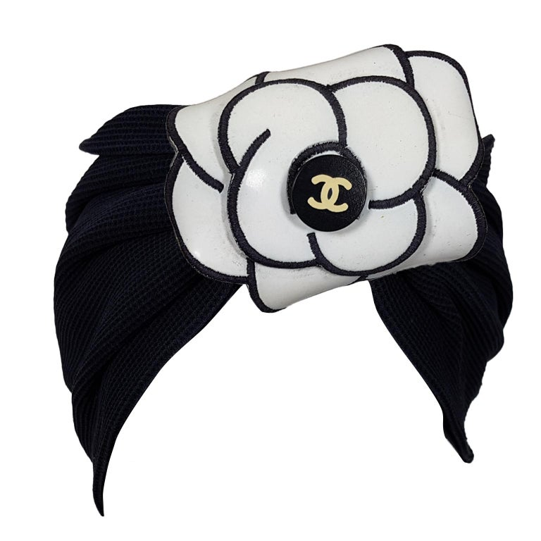 Chanel Black Turban Hair Band White Camellia Campaign SS 1995