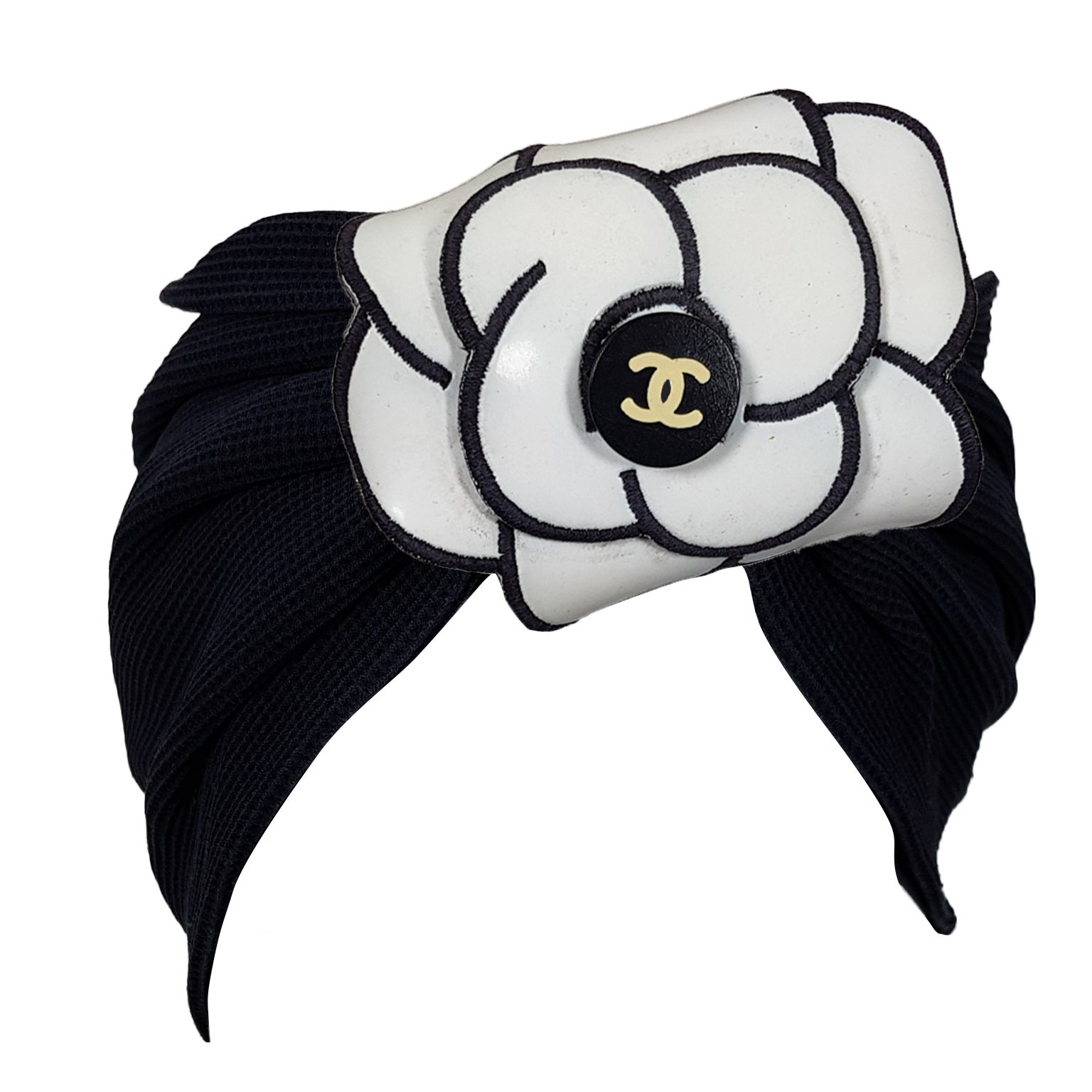 d6905e13 Chanel Black Turban Hair Band White Camellia Campaign SS 1995 For Sale at  1stdibs