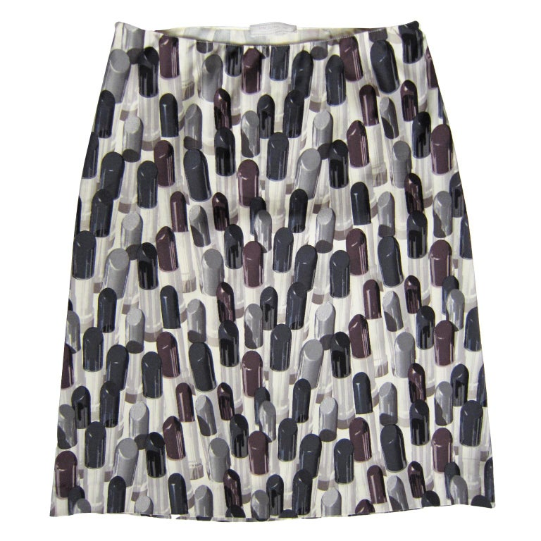 Prada Lipstick Print Skirt Black Grey SS2000 In Good Condition For Sale In Berlin, DE