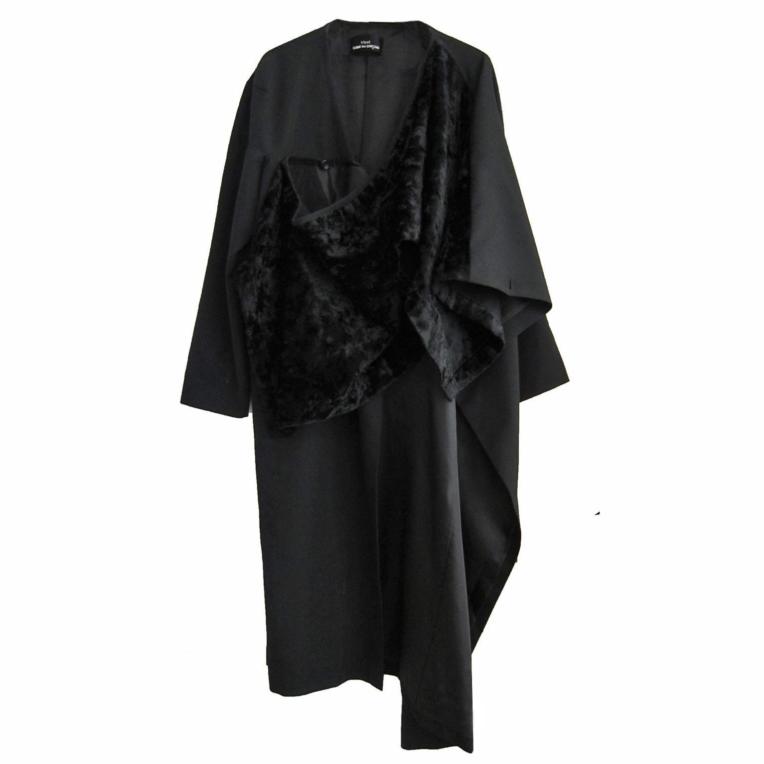 Comme des Garcons Tricot Asymmetric Black Coat AD 1999