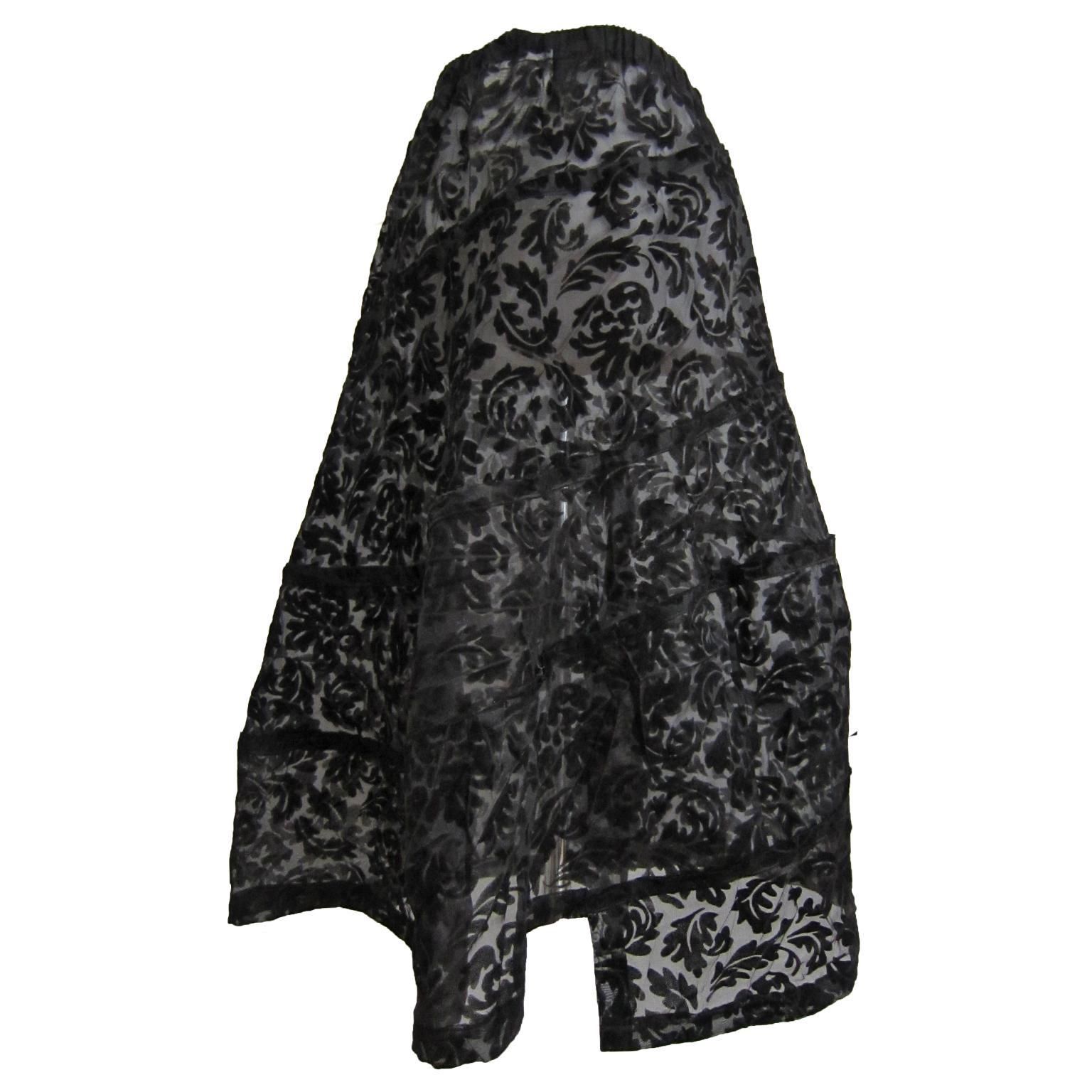 Comme des Garcons Spiral Black Floral Flare Skirt AD 2003
