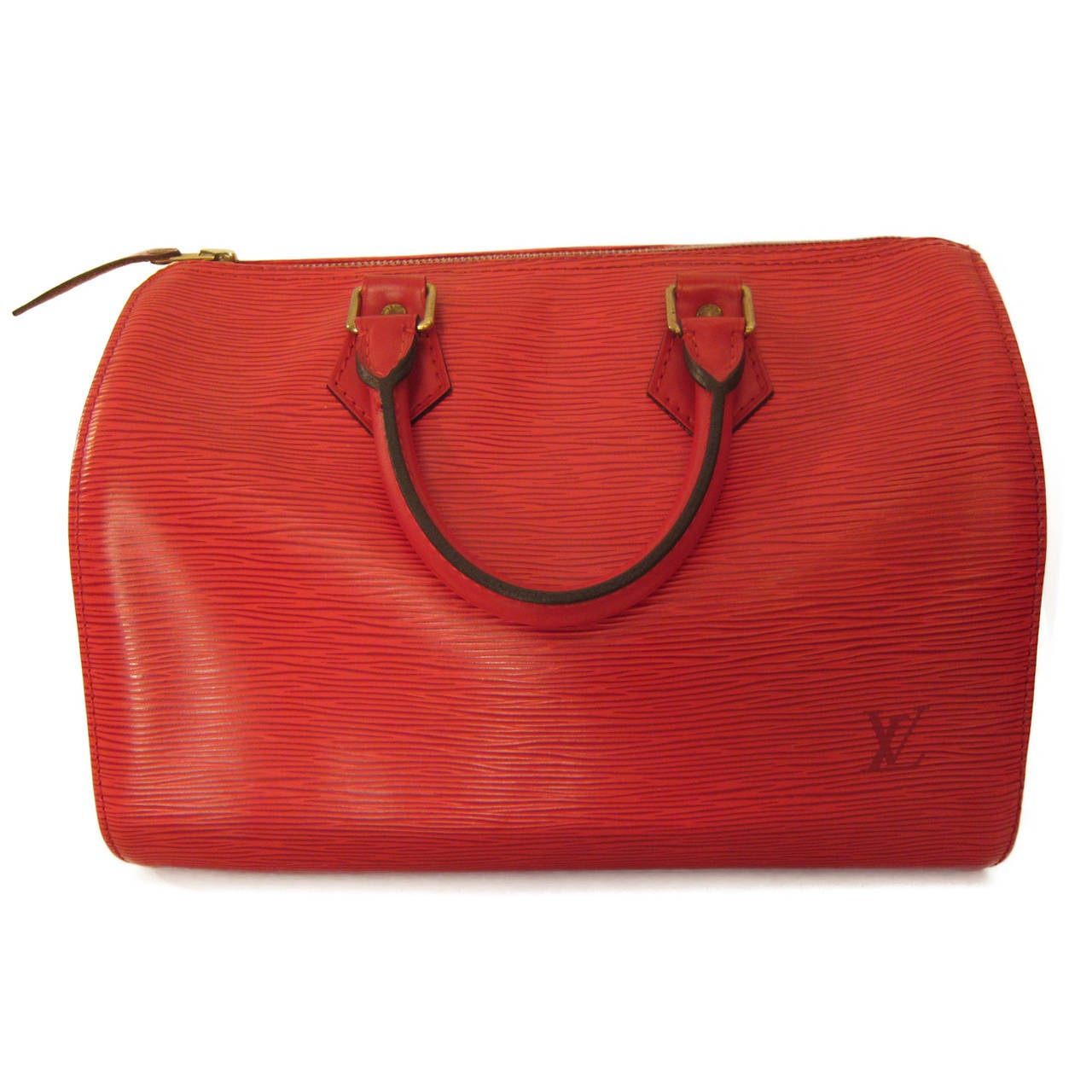 Classic Louis Vuitton Speedy 30 bag in epi red leather.  It has zip closure with original Louis Vuitton padlock and keys.