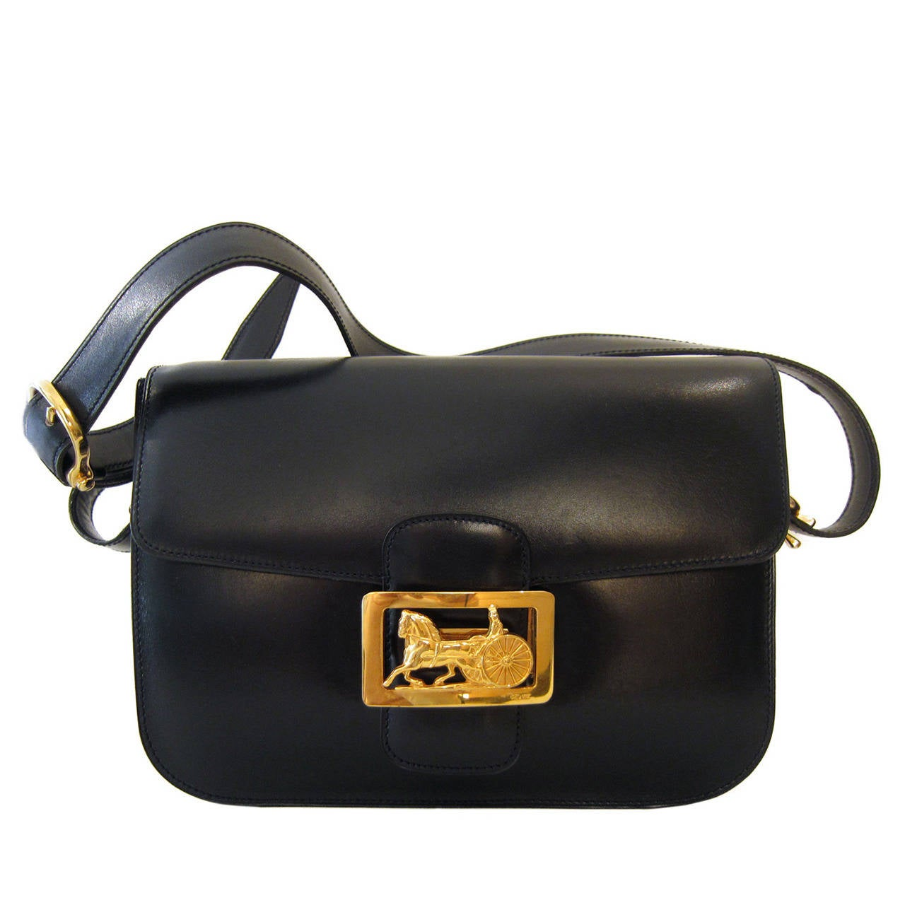 Celine Diffusion 1970 s Shoulder Gold Horse Carriage Box Bag at 1stdibs 794b77a032265