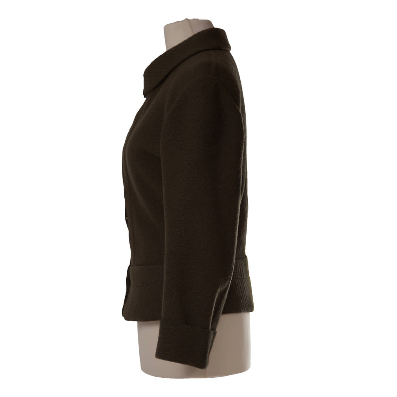 Azzedine Alaia deep khaki wool curved Jacket from 1980's.