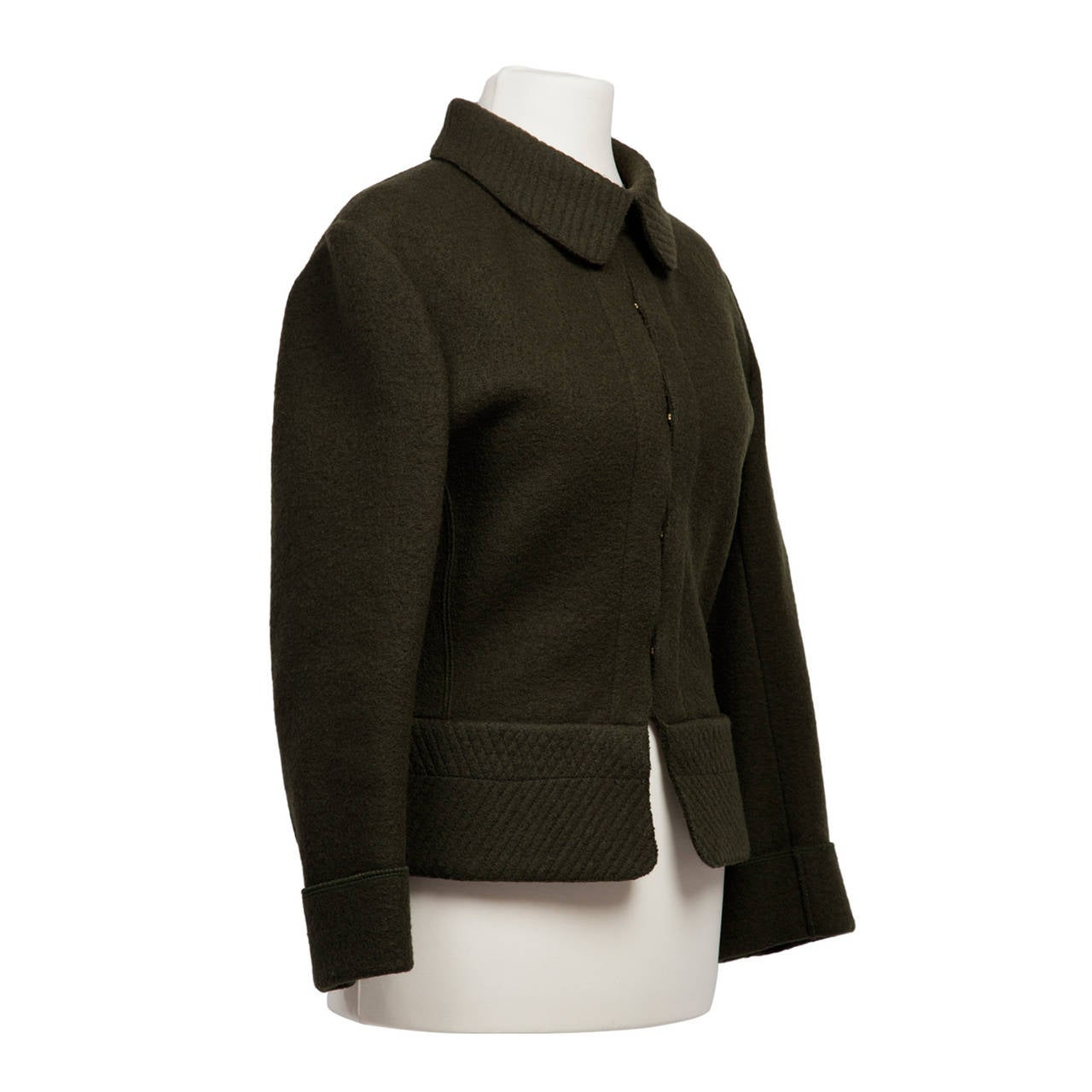 Black Alaia Khaki Olive Green Wool Jacket 1980's For Sale