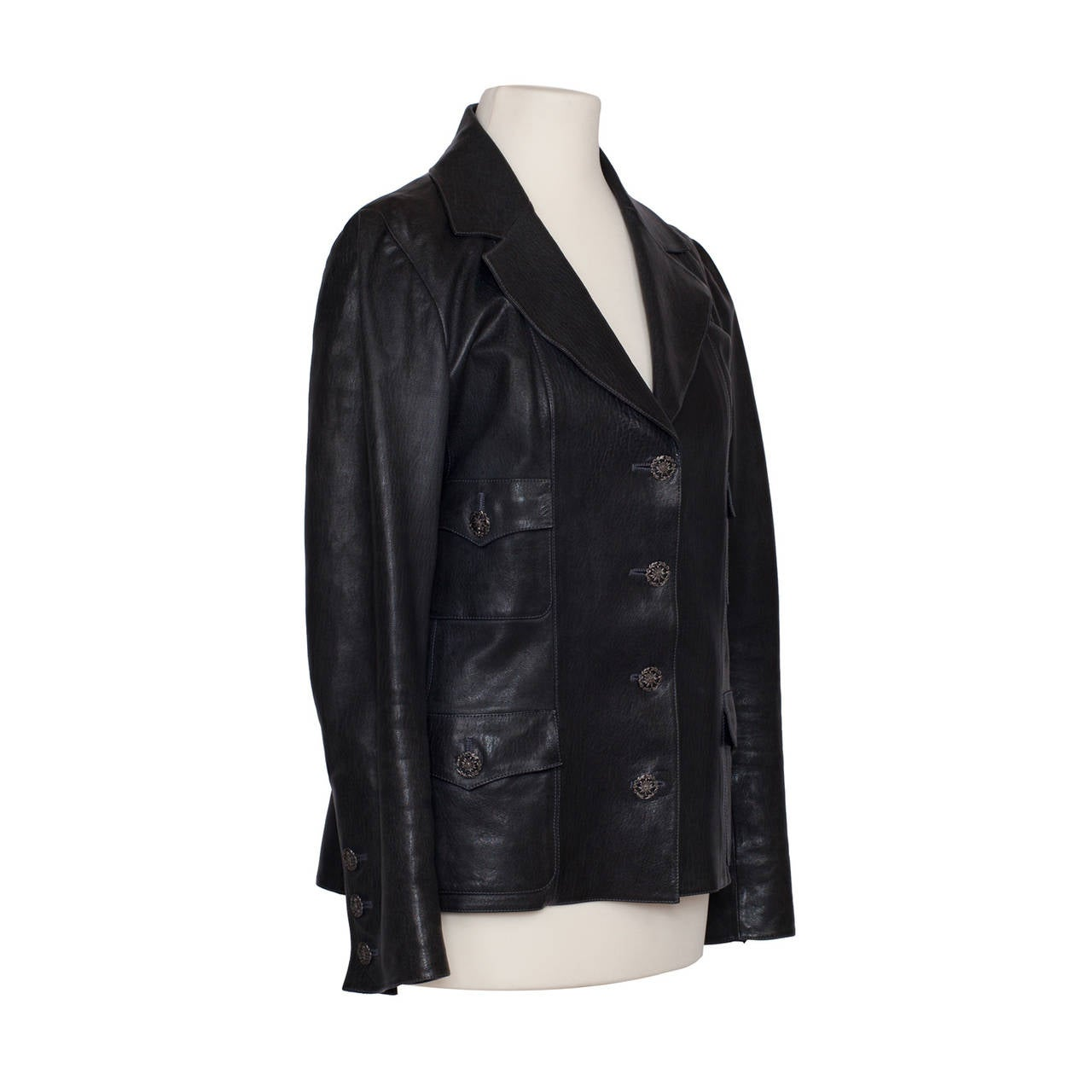 Black Chanel Classic Four Pockets Jacket Leather For Sale