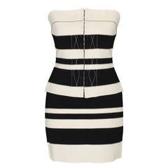 Gianfranco Ferre Black White Striped Bustier Ensemble