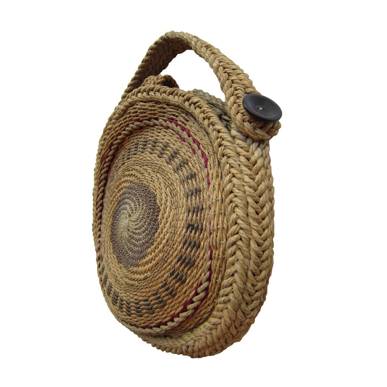 1stdibs Woven Twirl Basket Round Purse Bag 1920s jTf0H