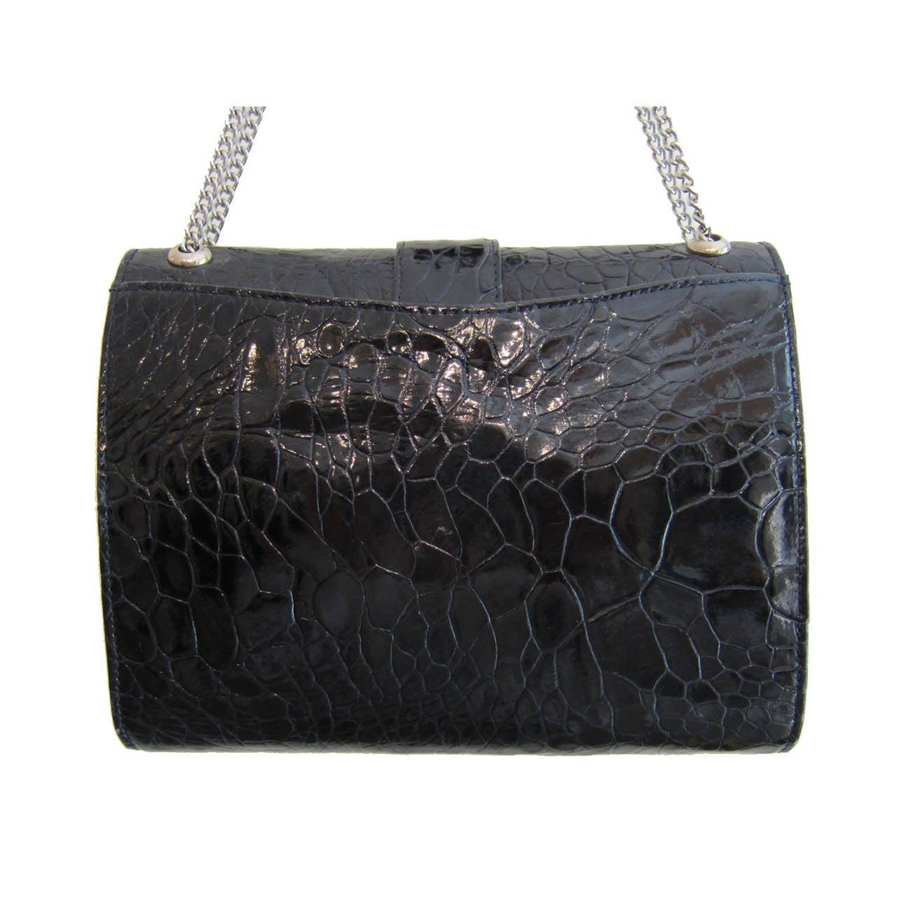 1stdibs Modell Royal Black Crocodile Shoulder Chain Bag 1960s zyS04K4dJ