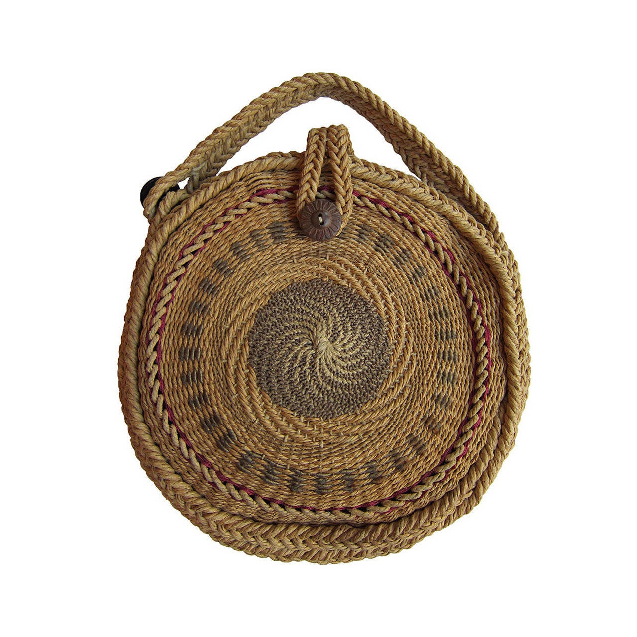 Woven Basket Purse : Woven twirl basket round purse s at stdibs