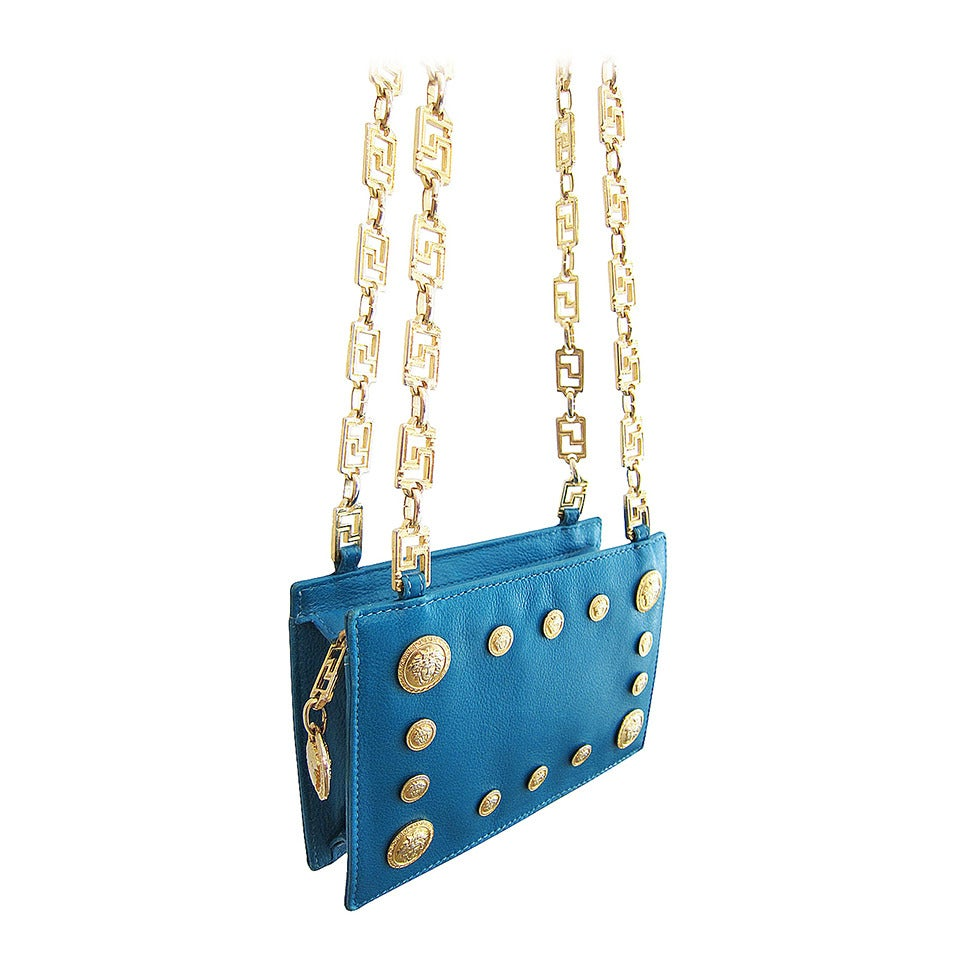 Versace Couture Rare Turquoise Gold Medusa Chain Bag pVBF7vTB