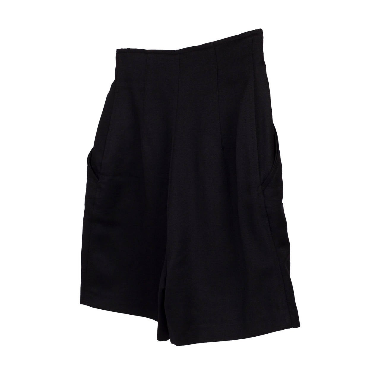 Versus Gianni Versace Black Marine High Waisted Shorts In Excellent Condition For Sale In Berlin, DE