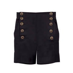 Versus Gianni Versace Black Marine High Waisted Shorts