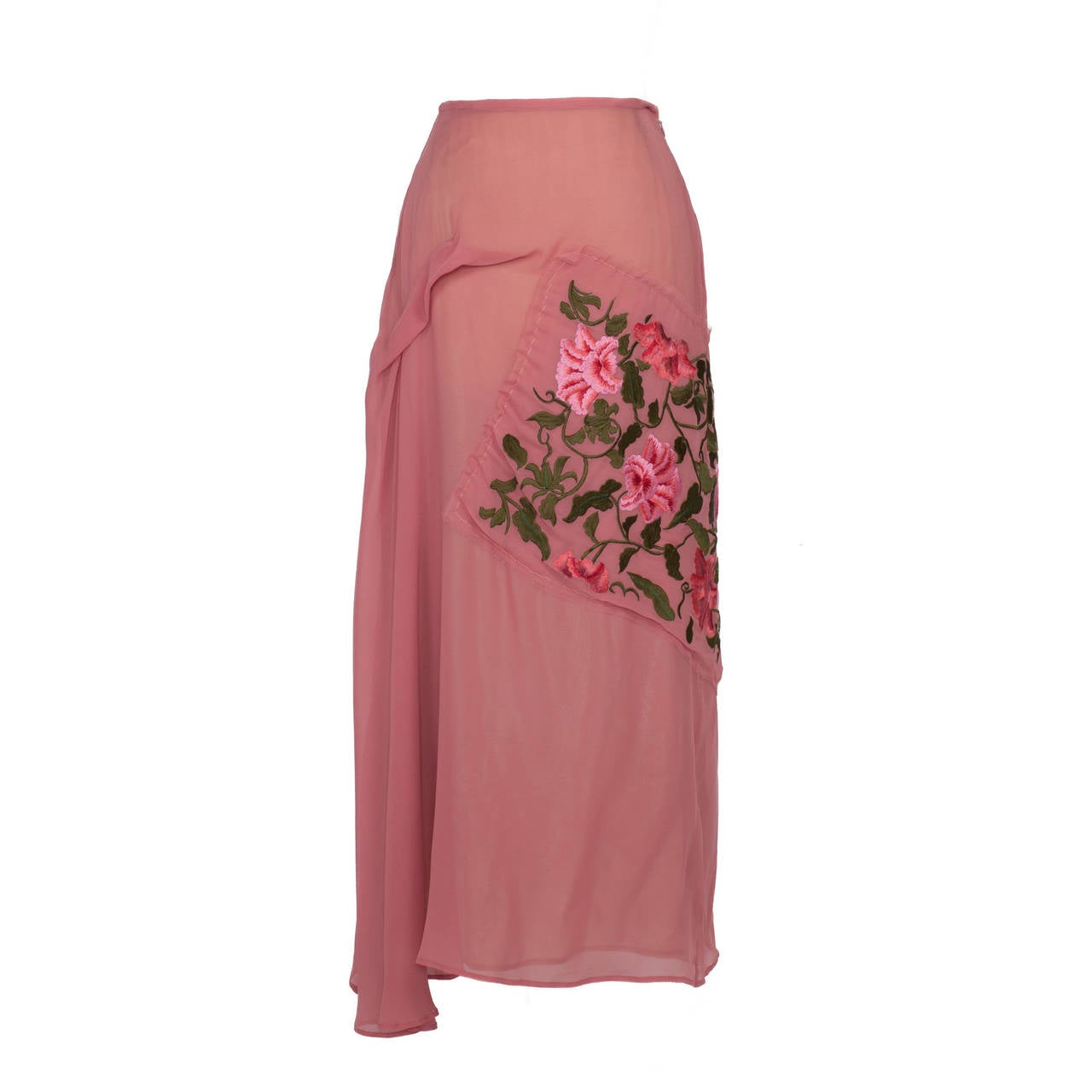 Yohji Yamamoto + Noir Pink Skirt Flower Embroidery In Excellent Condition For Sale In Berlin, DE