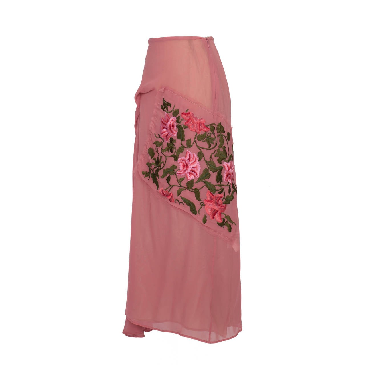Yohji Yamamoto pink / beige silk double layered skirt.  Draping front detail with amazing embroidered flower square patch.