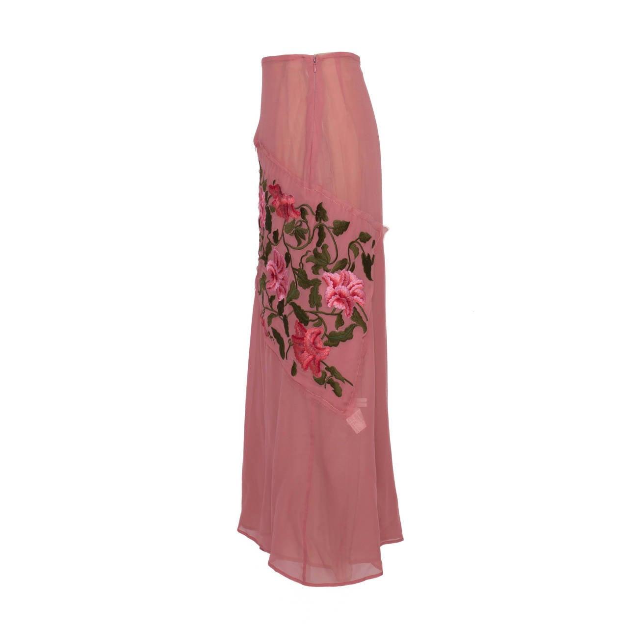Women's Yohji Yamamoto + Noir Pink Skirt Flower Embroidery For Sale