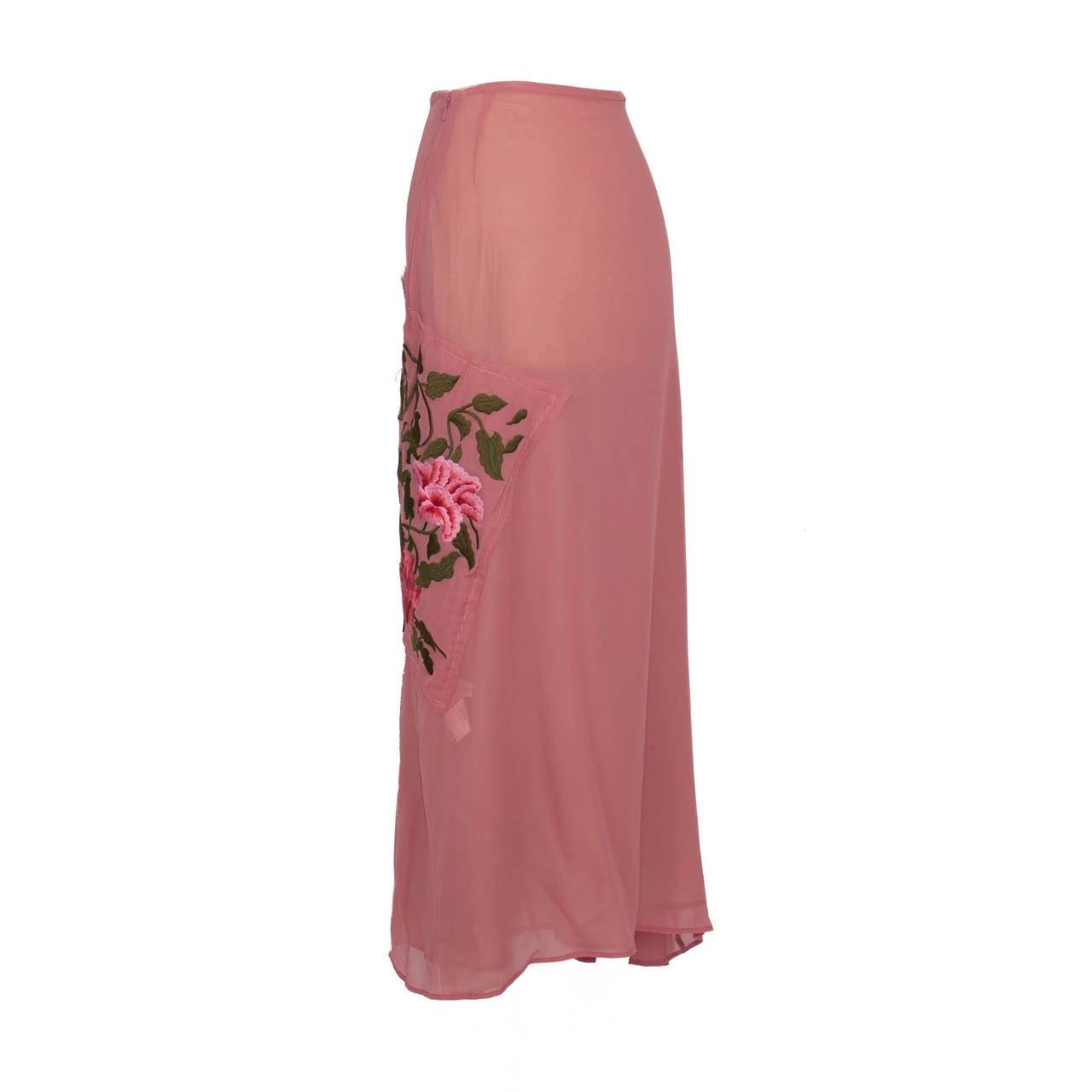 Yohji Yamamoto + Noir Pink Skirt Flower Embroidery For Sale 2