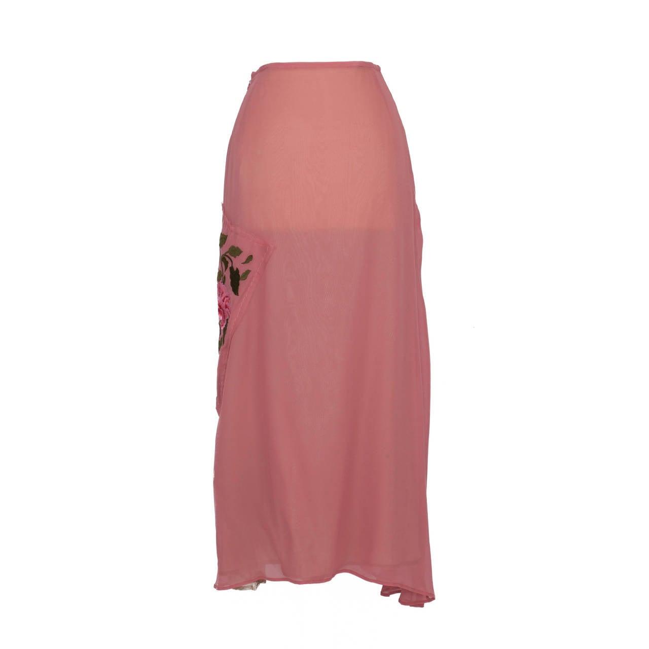 Yohji Yamamoto + Noir Pink Skirt Flower Embroidery For Sale 1