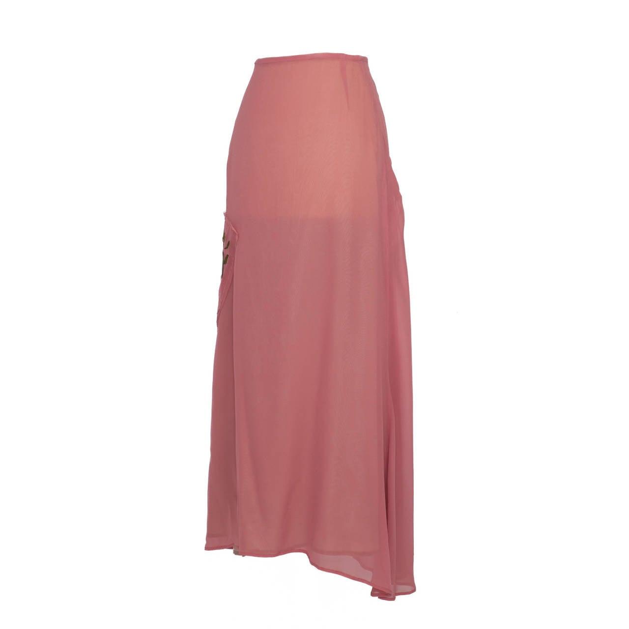 Yohji Yamamoto + Noir Pink Skirt Flower Embroidery For Sale 3