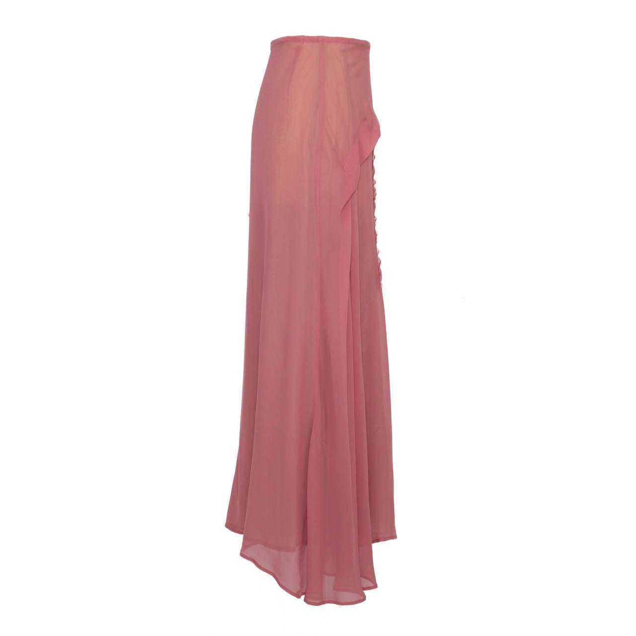 Yohji Yamamoto + Noir Pink Skirt Flower Embroidery For Sale 4