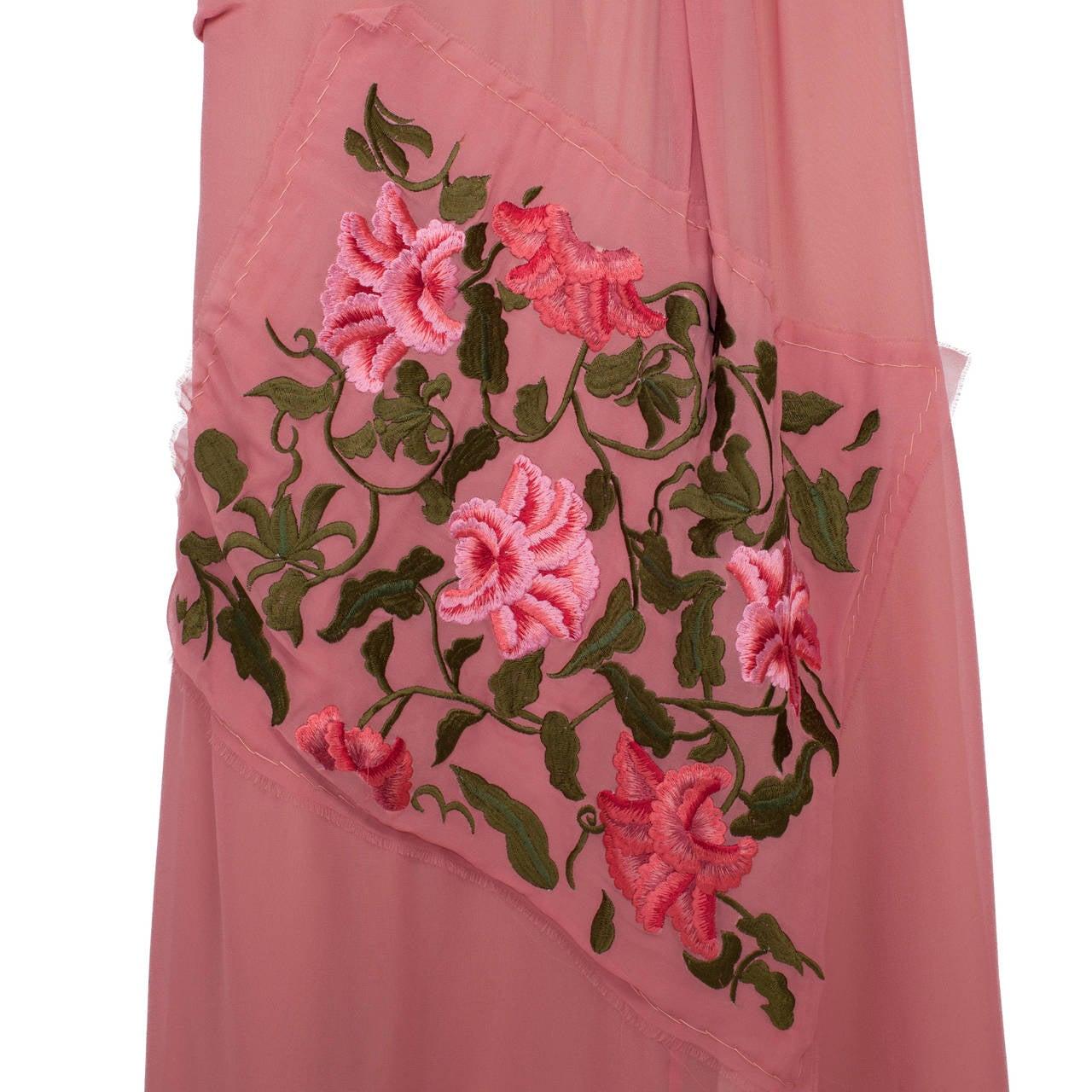 Yohji Yamamoto + Noir Pink Skirt Flower Embroidery For Sale 5