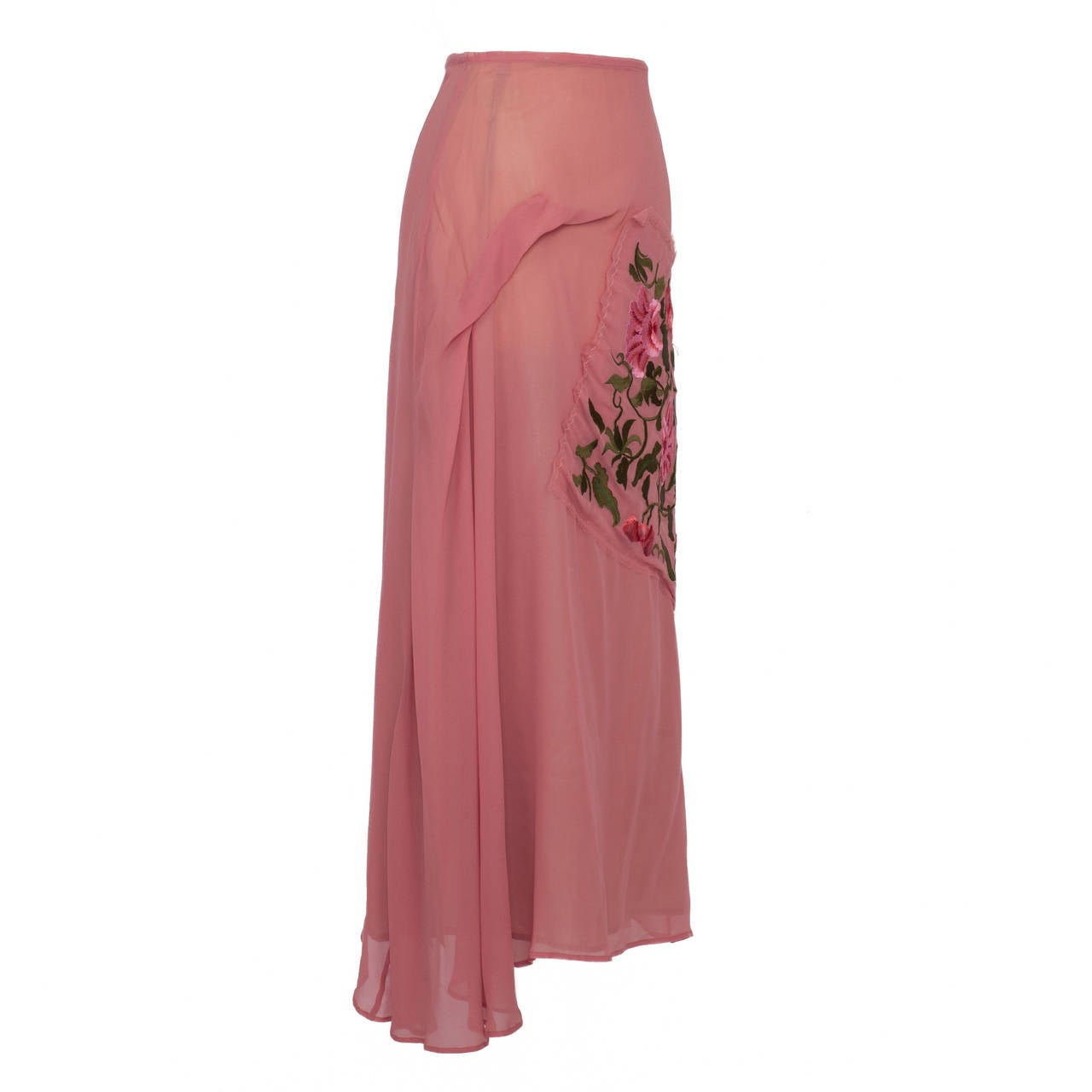 Yohji Yamamoto + Noir Pink Skirt Flower Embroidery