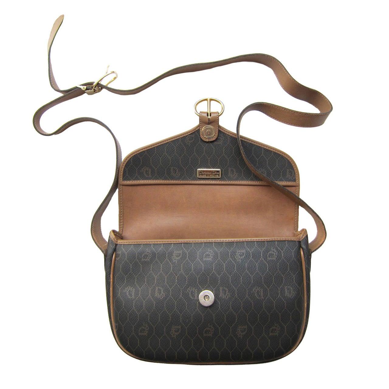 Black Christian Dior Logo Shoulder Bag 1980s For Sale