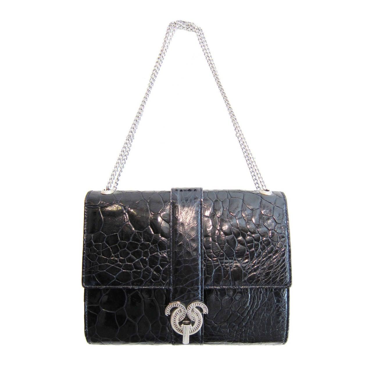 Modell Royal Black Crocodile Shoulder Chain Bag 1960's
