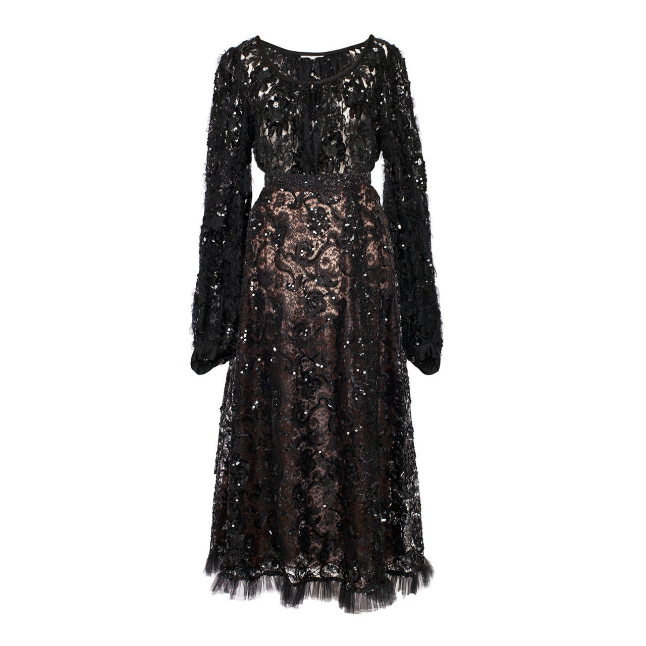 Yves Saint Laurent Black Lace Paillette Ensemble 70's