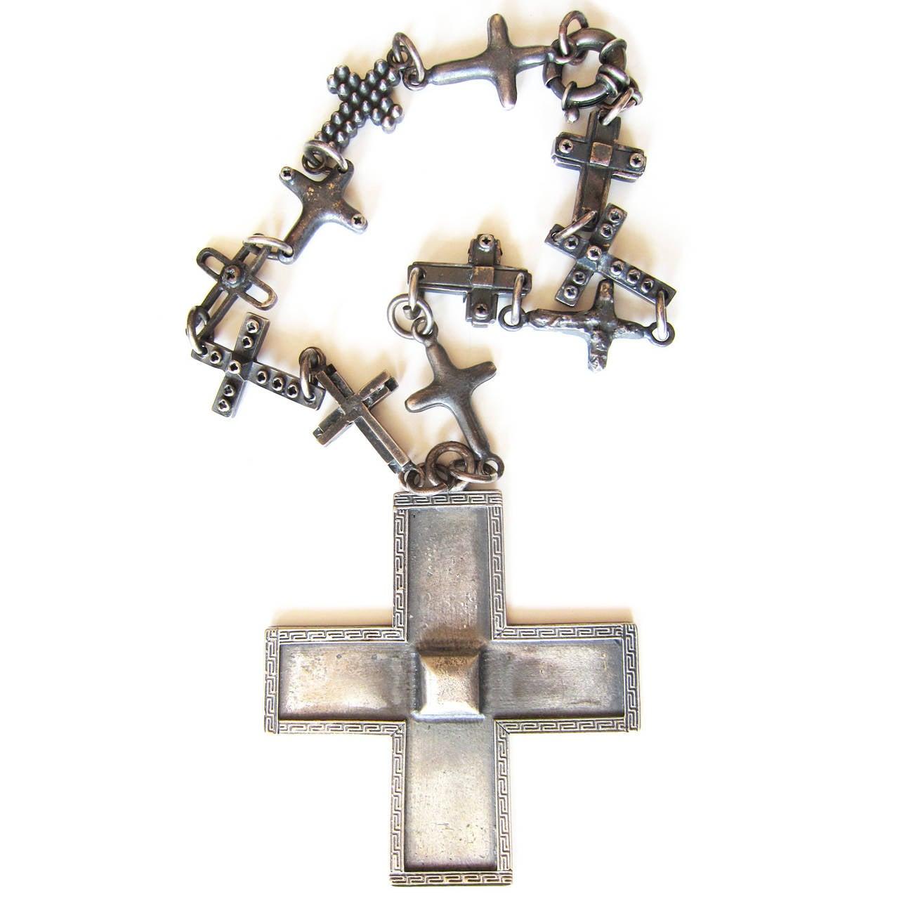 Gianni Versace Massive Cross Necklace 1990's 4