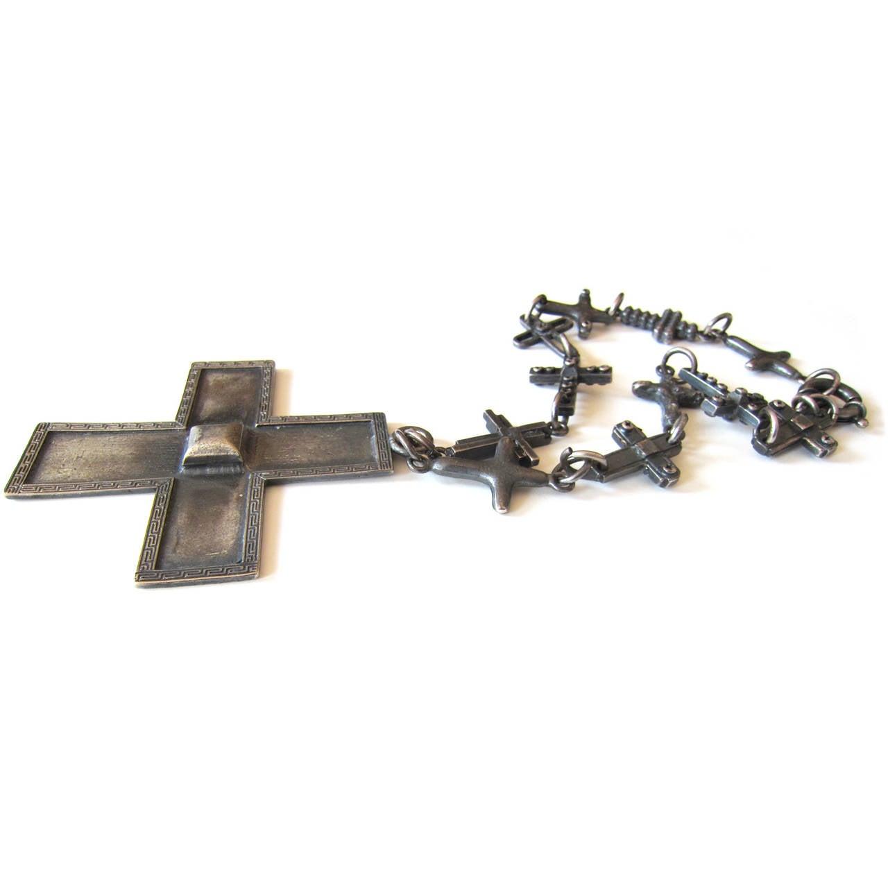 Gianni Versace Massive Cross Necklace 1990's 3