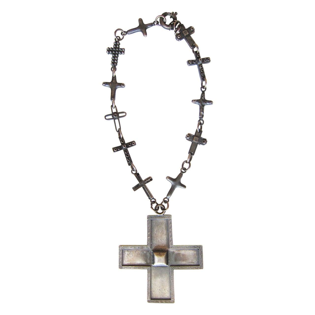 Gianni Versace Massive Cross Necklace 1990's 1