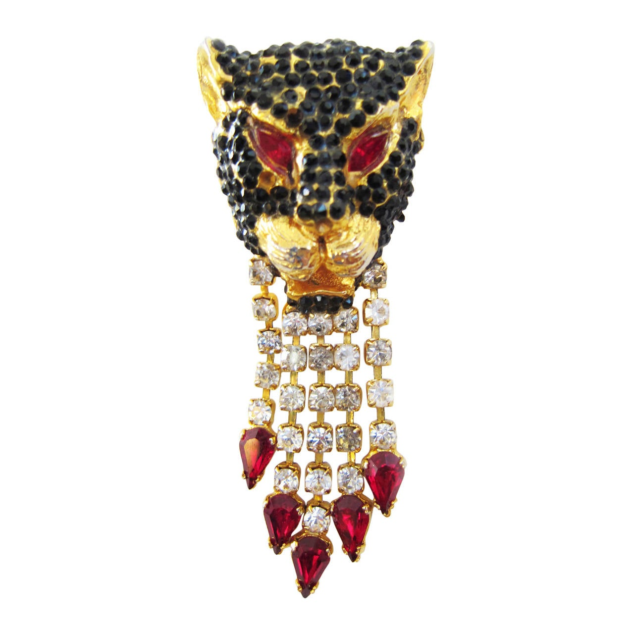 Gianni Versace Black Panther Pendent Head Clip 1990's For Sale