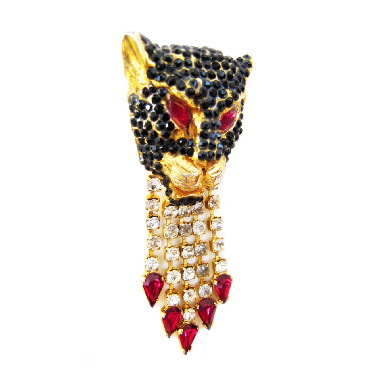 Gianni Versace Black Panther Pendent Head Clip 1990's For Sale 1